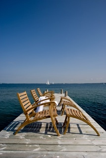Lounge Chair with Footstool. Foldaway, suitable for luxury boat decks -Teak
