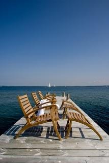 Lounge Chair with Footstool. Foldaway, suitable for luxury boat decks -Teak