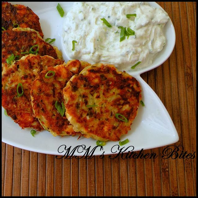 Potato and Zucchini pancakes with Feta Cheese served with Tzatziki...crispy on the outside, fluffy inside