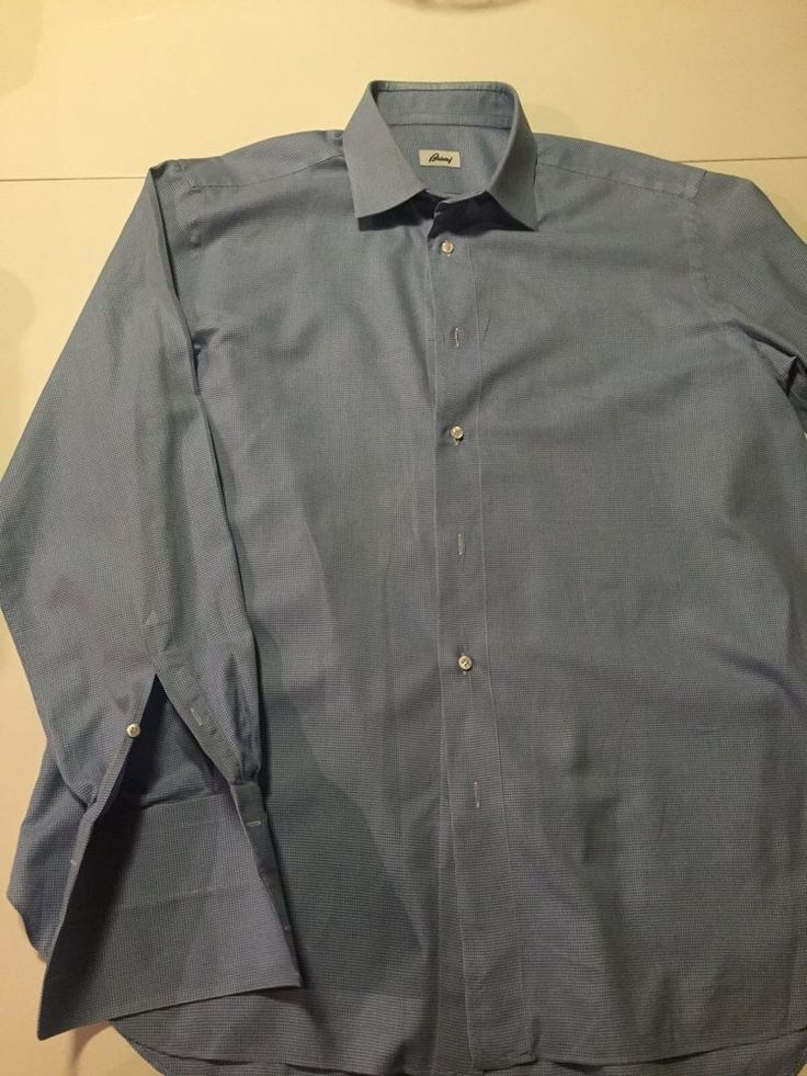 ac3bd278f5 Brioni Blue Dress Shirt For Men Size 43 17 Made In Italy French Cuff