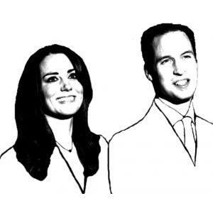 Disegno di Principe William e Kate da colorare