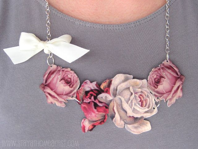 Vintage Floral Necklace Tutorial - printed images on shrink plastic - I think this would be really pretty with a dove flying where the bow is too  *