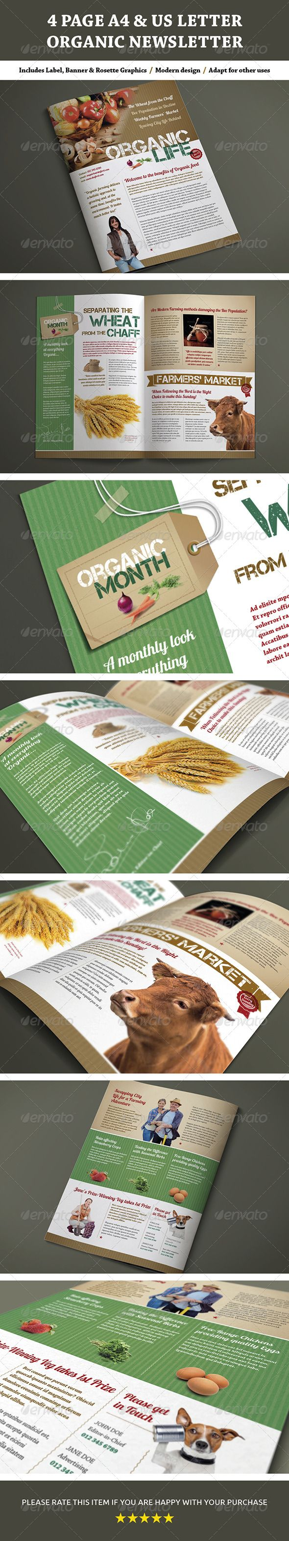 4 Page A4 and US Letter Organic Newsletter - Newsletters Print Templates