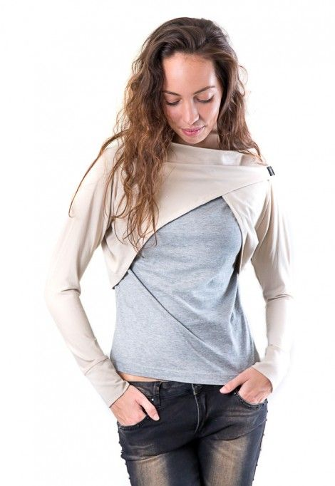 Long sleeve beige shrug, dressign.com