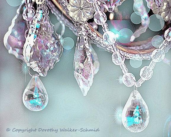 5x7 bling chandelier crystals sparkles aqua blues violet lavender shabby vintage