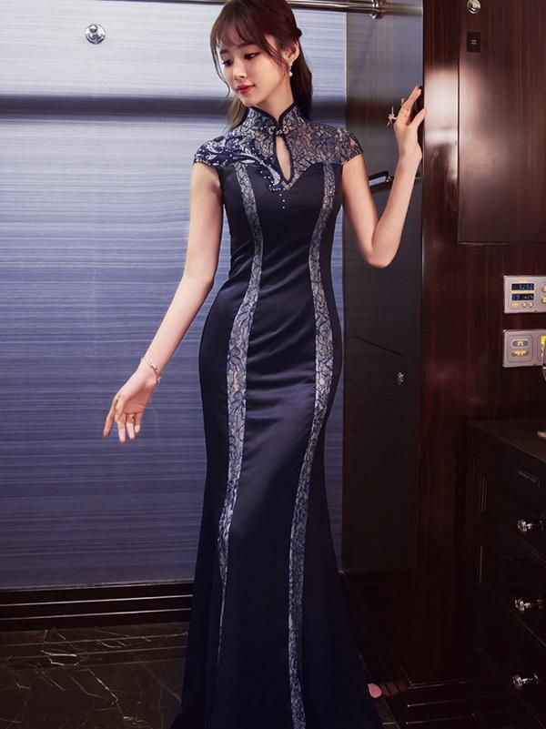 1fc843dc4b4 Beaded Sequined Long Cheongsam Evening Dress