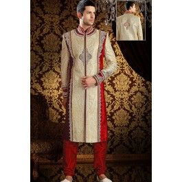 Presenting Cream Brocade #Sherwani with Sequins Work Order Now@ http://zohraa.com/men/sherwani/officewear-casual-white-faux-georgette-and-cotton-premium-kurti-fab-qdkrk23tpdtl.html Rs. 23204.