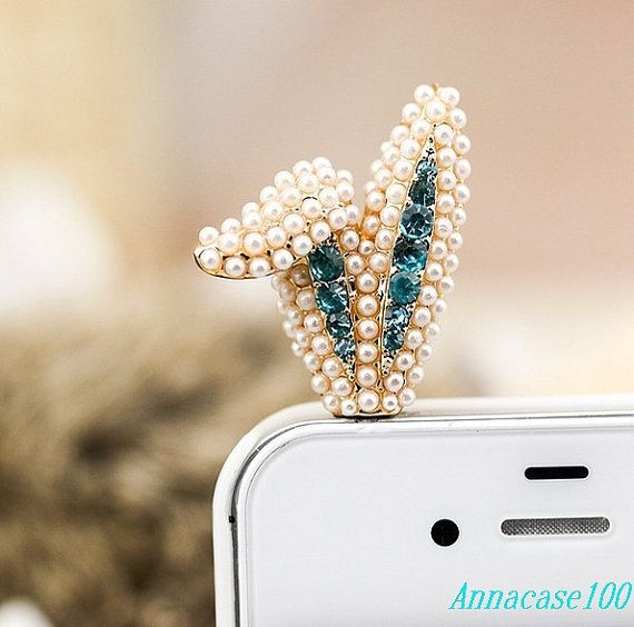 Crystal pearl Gem Alloy Crown Dust Plug 3.5mm Smart Phone Dust Stopper Earphone Cap Headphone Jack Charm for iPhone 4 4S 5 HTC Samsung on Etsy, $5.51 AUD