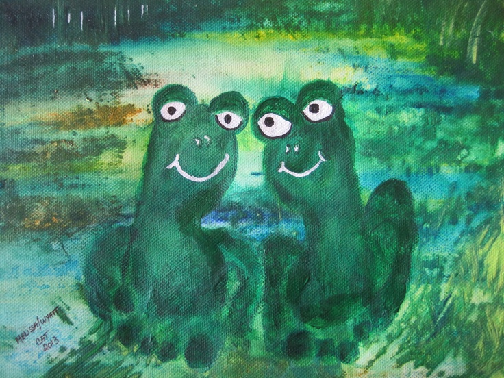 Grandson Frog Feet Painting CatART Painting, Kinder