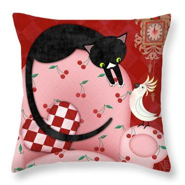 C Is For Cat, Cockatoo, And Coo Coo Clock Throw Pillow by Valerie Drake Lesiak