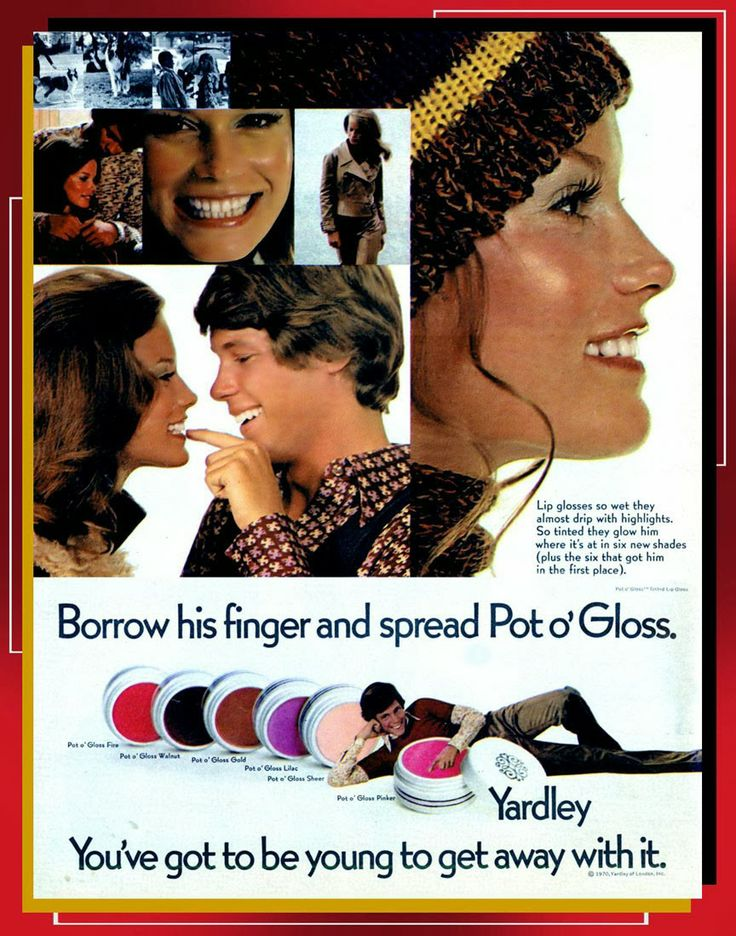 1970 Yardley ad for Pot o'Gloss Shelley Hack.  Had many pots of this stuff fore sure.