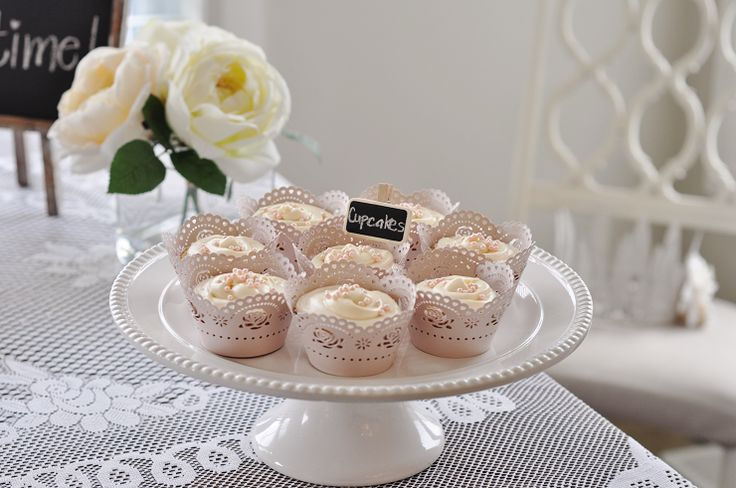 Vintage Tea Party. Cupcake wrappers in pale pink