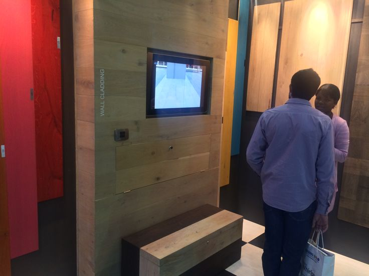 A consultation with a client on our wall cladding services  Pictures from our stand at Grand Designs Live 29-31 May 2015 #gdlsa15 #flooring #forestflooring