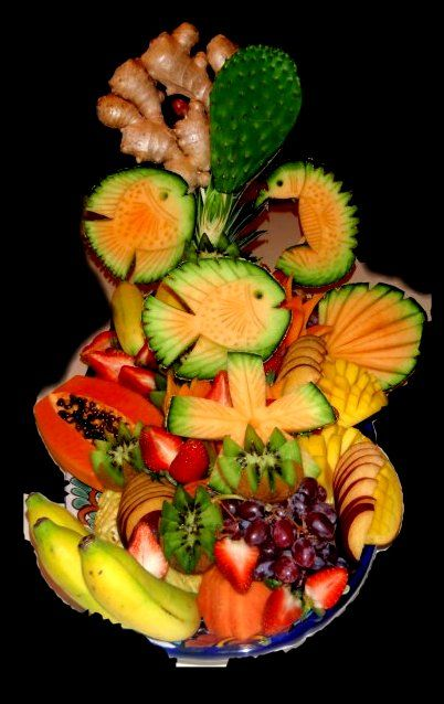 Exotic Tropical Fruit Sculpture - Chef Douglas Ricciardi Underwater Coral Reef Scene Carved from Fruit Call (941) 587-6150