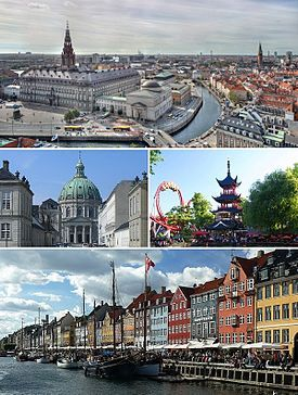 From upper left: Christiansborg Palace, Frederik's Church, Tivoli Gardens and Nyhavn.