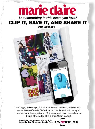 Netpage. Clipped from the print page of Marie Claire using Netpage... This app is genius! Get it. You won't be sorry!!