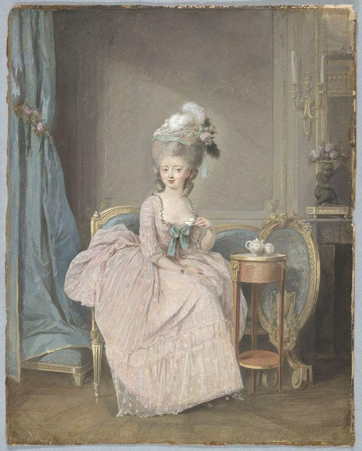 Portrait d'une femme buvant du thé, par Nicolas Lavreince.