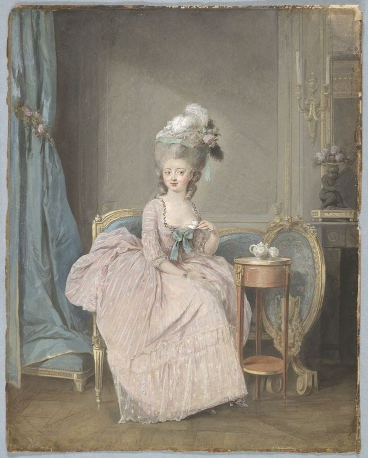 Lady Drinking Tea by Nicolas Lavreince, French (1737 - 1807).