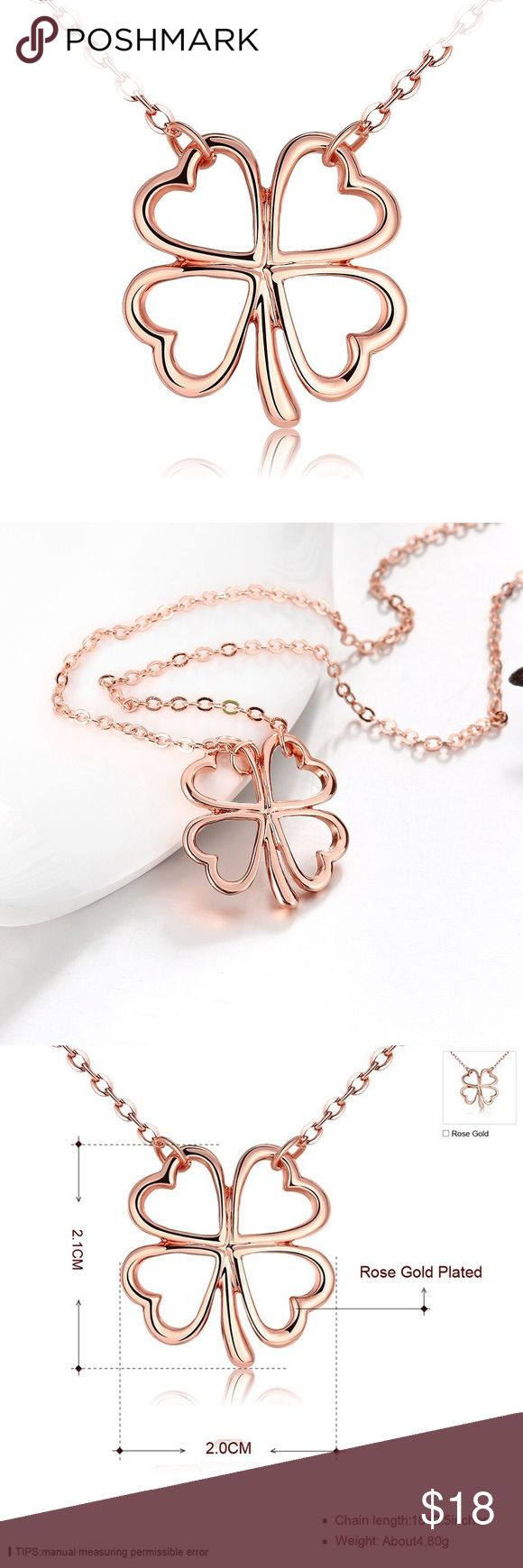 "Rose Gold Four Leaf Clover Necklace 18K rose gold plated four leaf clover necklace. The pendant is approximately 3/4"" x 3/4"". The chain is 18"" long. New in package, no tag. Jewelry Necklaces"
