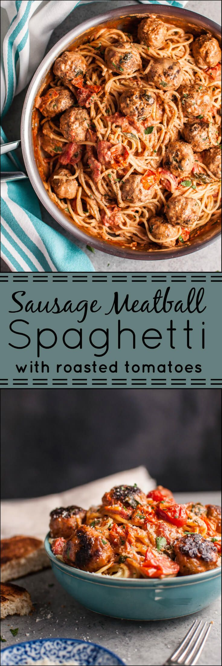 This sausage meatball spaghetti with roasted tomatoes is bursting with fresh…