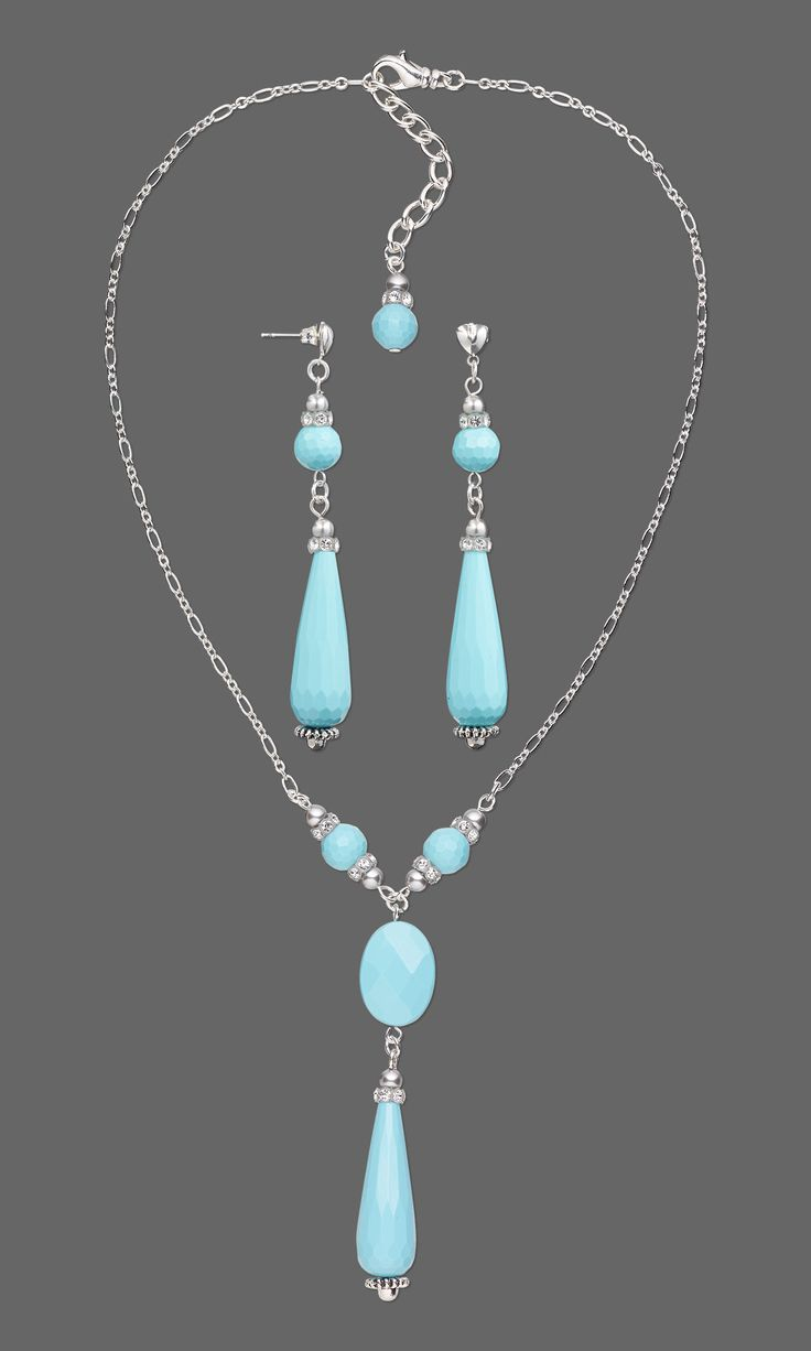 faceted turquoise drop necklace earrings turquoise jewelrymaking beading gemstonejewelry jewelrydesign