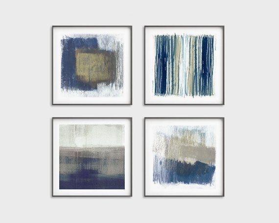 Blue And Beige Printable Art Set Of 4 Square Abstract Prints