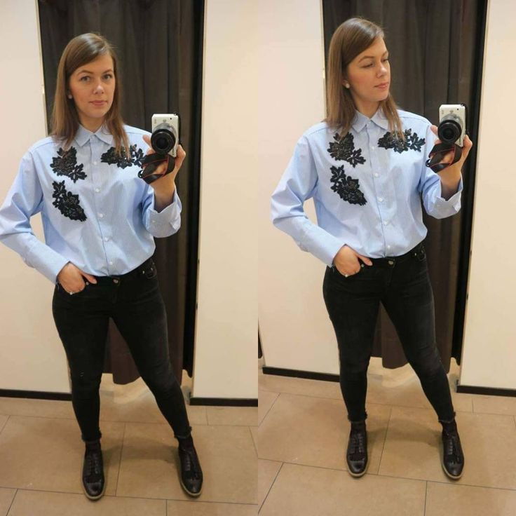 "Zara outfit (@newmemyselfandi) on Instagram: ""New arrival in #zara. I just love this #shirt. #detail on it so #cute. #must #musthave #new #blue…"""