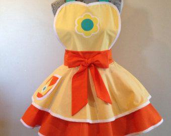 Princess Peach Retro Apron Pink apron Cosplay by AriaApparel