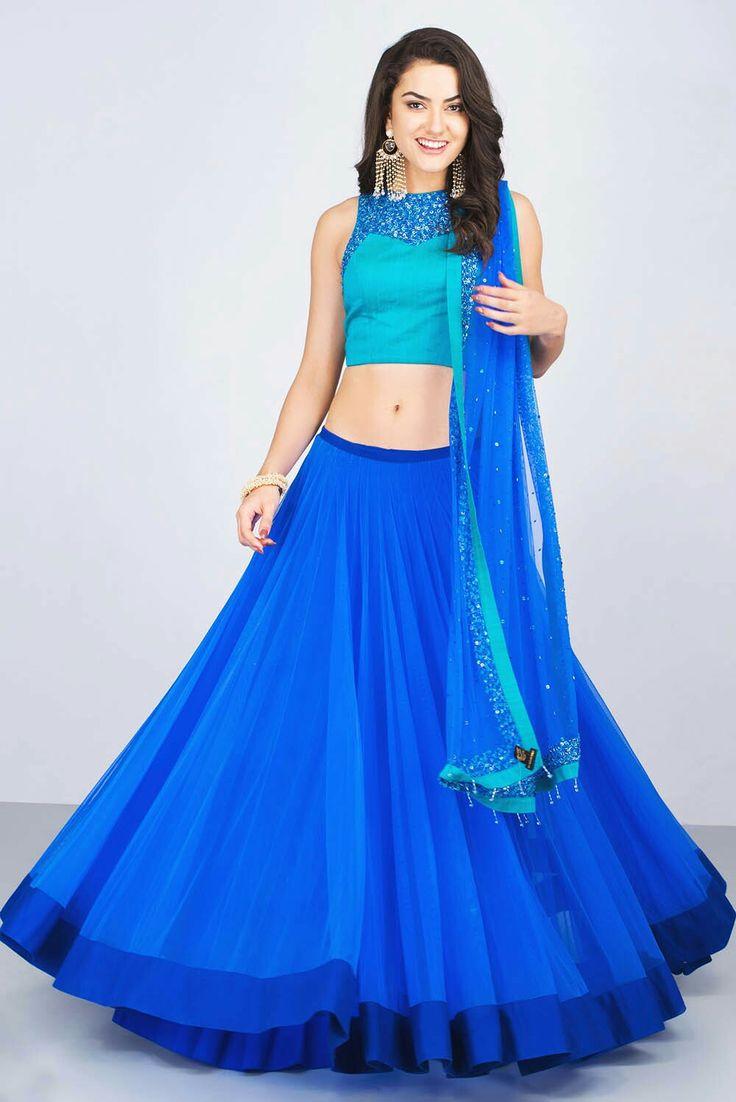 VRUSHALI SATRE - blue embroidered lehenga set