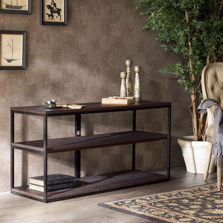 Classic Vintage French 55 Square Two Tier Brass Glass: This Sturdy Media Console Is Composed Of Veneer, Metal And