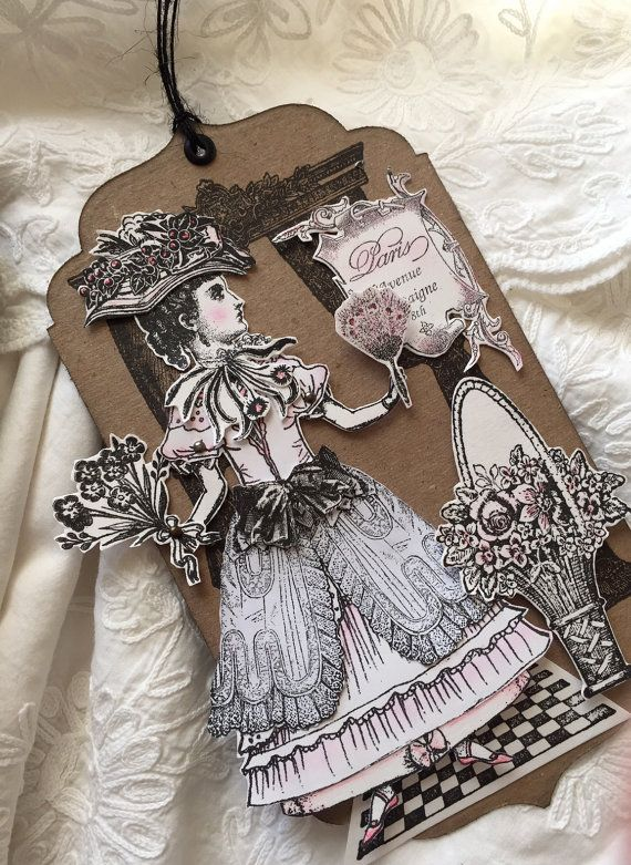 Mixed Media Art Tag Paper Doll Fairies Paper Collage by ParisPluie