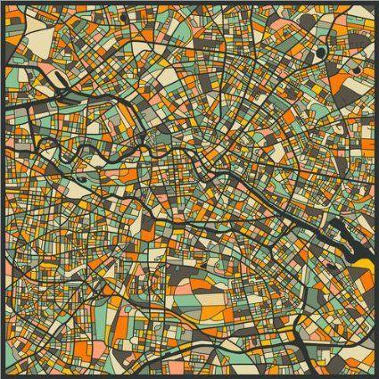 Poster 50 x 50 cm: Berlin Karte von Jazzberry Blue - hochwertiger Kunstdruck…