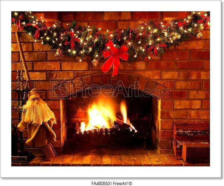 Free Art Print by Christmas Fireplace