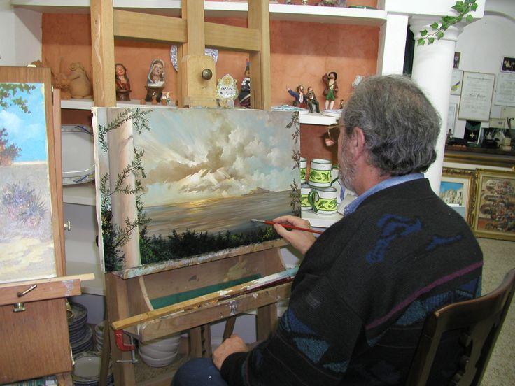 Dipingendo un quadro ad olio per Keanu Reeves