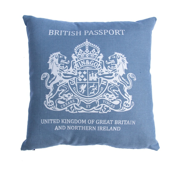 Inspired British passport cushions great for a splash of colour in any room, all made in England
