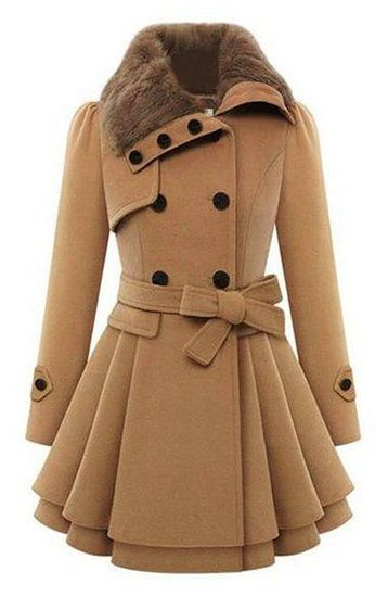 Bluetime Women's Fashion Faux Fur Lapel Double-breasted Thick Wool Trench Coat Jacket