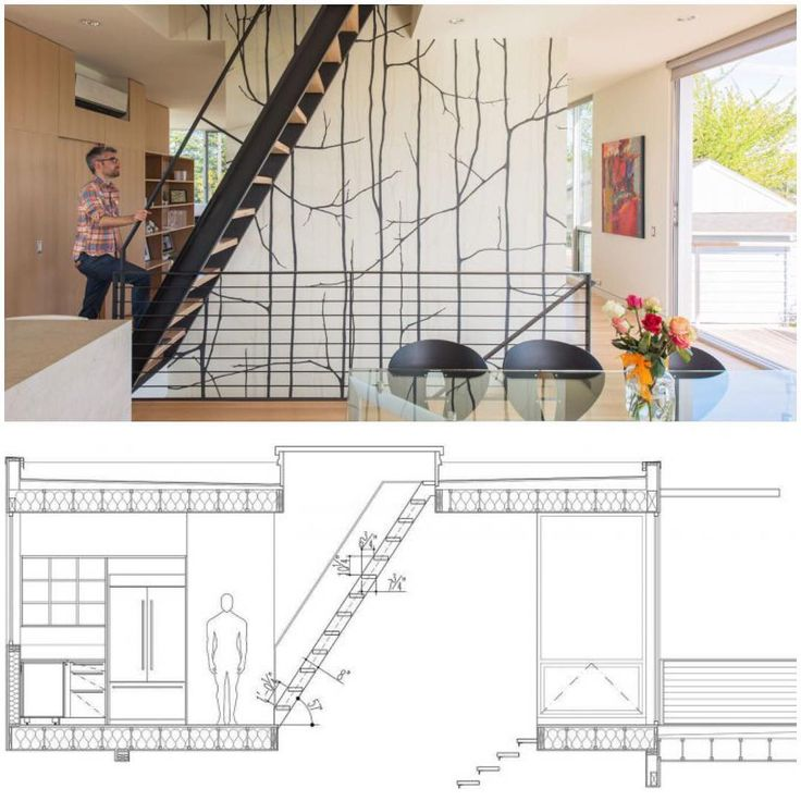 Non-conforming stair to roof hatch fabricated with blackened steel and oak treads. #CSH2014 #architecture #design #interiors #stairs #shipladder #details #drawings #modern