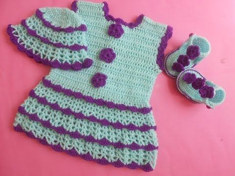 (Crochet-Crosia) how to make Crochet baby dress - YouTube
