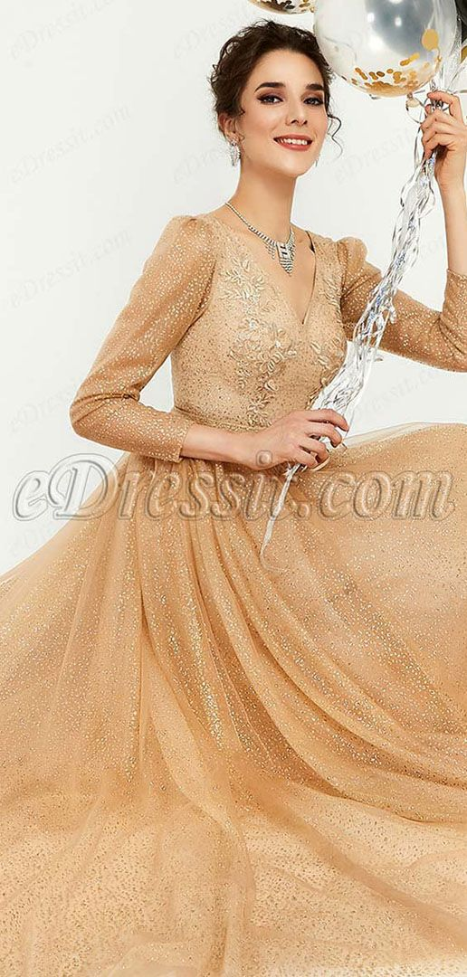a0c6119ef919 *V-Neck Cut *Long sleeves *Built in Bras *Putty Skirt *Shiny Metal Powder  Fabric *Full length with train(about 155 cm from shoulder to the front hem)