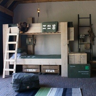 Rustic boys room... inspiration ideas for lodge, camp, military, or medic themed room... could switch up the color scheme to red, yellow & blue for firehouse bunk room theme