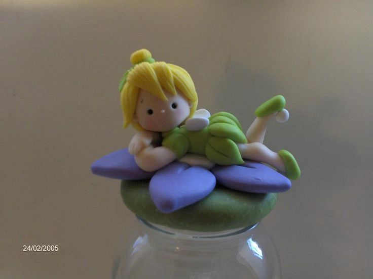 Lid to glass jar covered in Polymer Clay