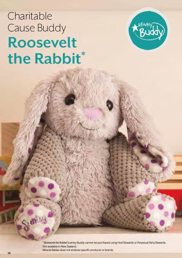 For a limited time only, Scentsy is bringing back a beloved Charitable Cause Scentsy Buddy: Roosevelt the Rabbit!  With every purchase of Roosevelt, Scentsy will donate $6.50 to the March of Dimes Foundation. heart emoticon<3 Roosevelt includes one Scent Pak of your choice.   Don't wait to order — when Roosevelt sells out, he'll be gone for good. www.myreminiscents.scentsy.us