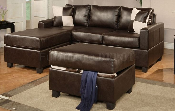 small sectionals  | Espresso Bonded Leather Modern Small Sectional Sofa w/Ottoman  http://www.furnituredepot.com/espresso-bonded-leather-modern-small-sectional-sofa-wottoman-p-10299.html