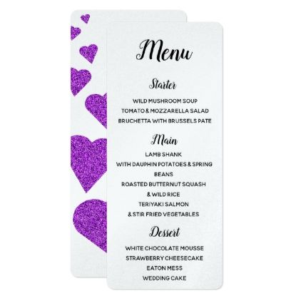 Purple Glitter Hearts Menu Card - spring wedding diy marriage customize personalize couple idea individuel