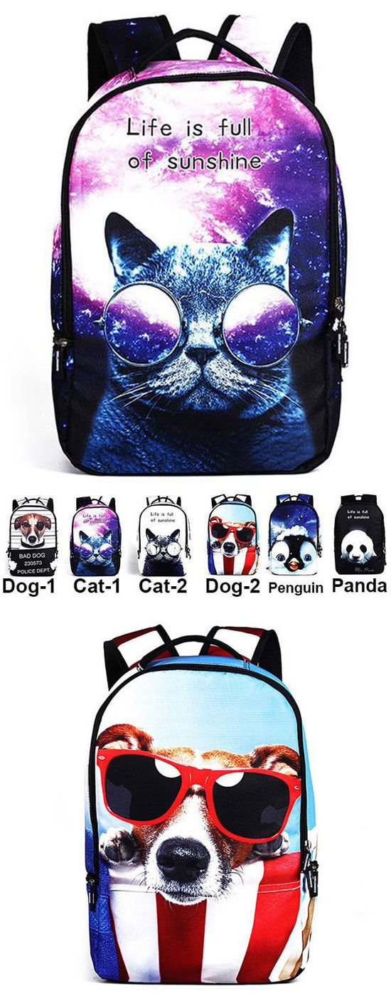 Cute Starry Sky Large Travel Backpack Punk Cute Dog Panda Cat Animals Galaxy Backpack for my sister ! #school #college #student #Bag #book #backpack #rucksacck #women #girl #dog #animal #cat #cute
