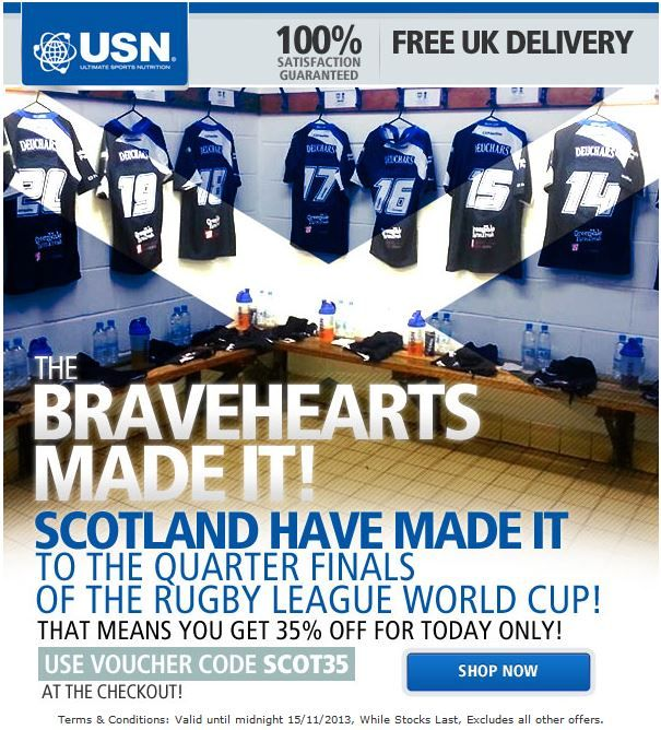 Head over to http://uk.usn-sport.com/en/ and use code SCOT35 to get 35% OFF! We're celebrating the Scotland Rugby League team reaching the #RLWC13 Quarter Finals and they play New Zealand TODAY! #Discounts #Promotions