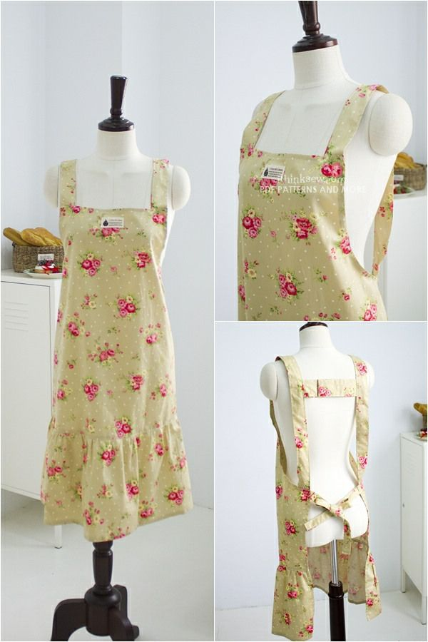 Cary apron styles pdf pattern sewing clothes pinterest for Apron designs and kitchen apron styles