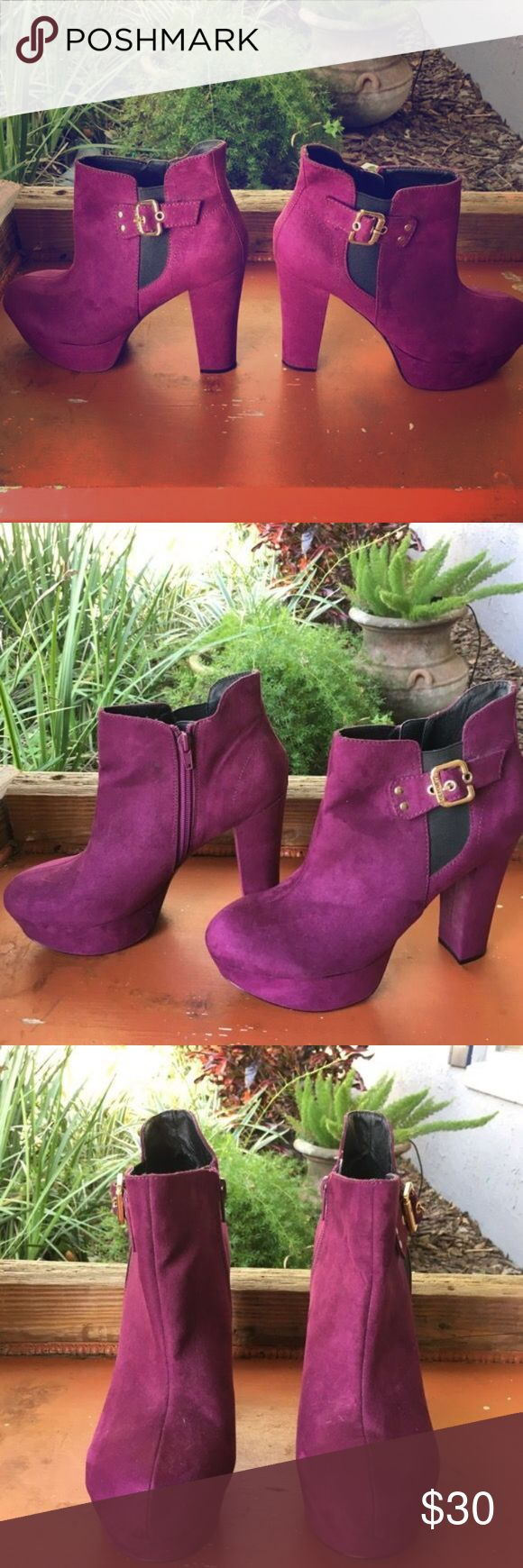 Guess Platform Booties Purple suede Guess Platform booties. Worn once SIZE 9 great condition, need a loving home! Guess Shoes Heeled Boots