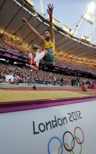 Australian silver medalist Mitchell Watt makes an attempt during the mens long jump qualification at the athletics competition in the Olympic Stadium at the 2012 Summer Olympics, Friday, Aug. 3, 2012, in London.