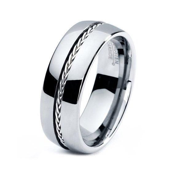 Elegant Mens Tungsten Carbide Wedding Band Ring Sizes Braided Sterling Silver Inlay High Polished Comfort Fit Domed Custom Engraved uc uc uc lol im looking thru a bunch